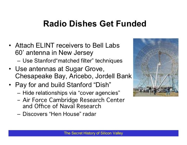 """Radio Dishes Get Funded  • Attach ELINT receivers to Bell Labs   60' antenna in New Jersey   – Use Stanford""""matched filter..."""