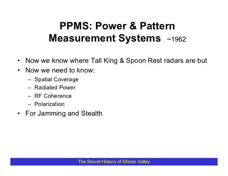 PPMS: Power & Pattern             Measurement Systems ~1962  • Now we know where Tall King & Spoon Rest radars are but • N...