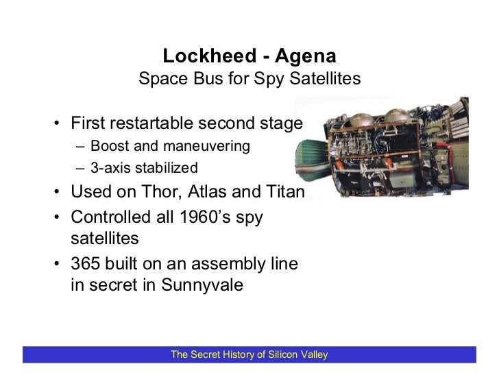 Lockheed - Agena           Space Bus for Spy Satellites  • First restartable second stage   – Boost and maneuvering   – 3-...
