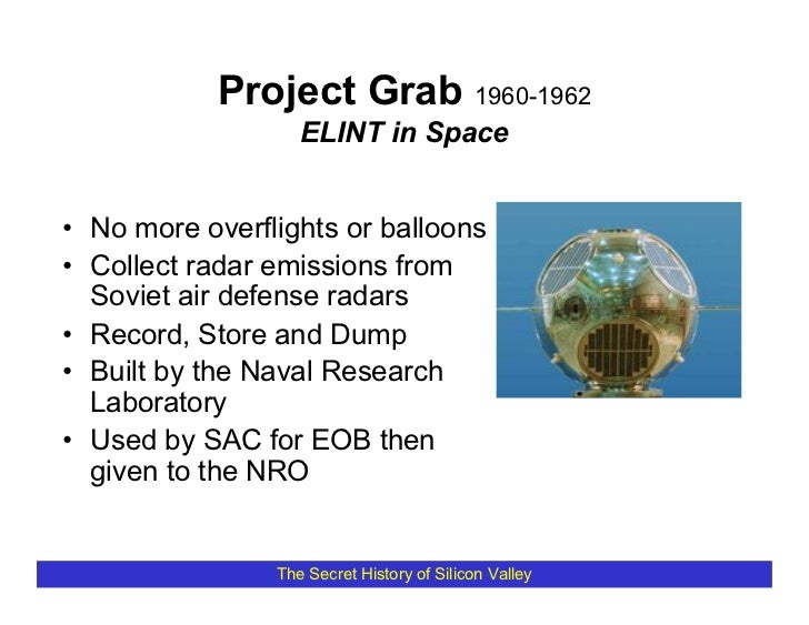 Project Grab 1960-1962                    ELINT in Space   • No more overflights or balloons • Collect radar emissions fro...