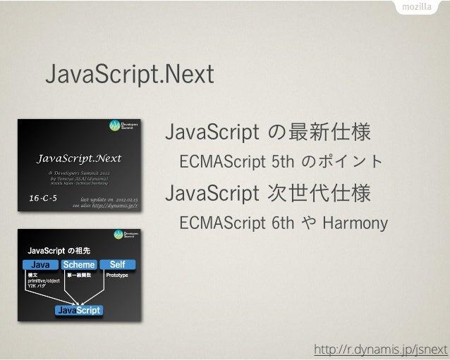 JavaScript.Next          JavaScript の最新仕様           ECMAScript 5th のポイント          JavaScript 次世代仕様           ECMAScript 6t...