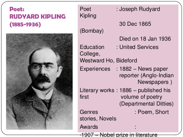 "rudyard kipling poetry essay If by rudyard kipling we can help you with your research paper hire  writer subtitled as 'brother square-toes'—rewards and fairies, the poem ""if"" is  a."
