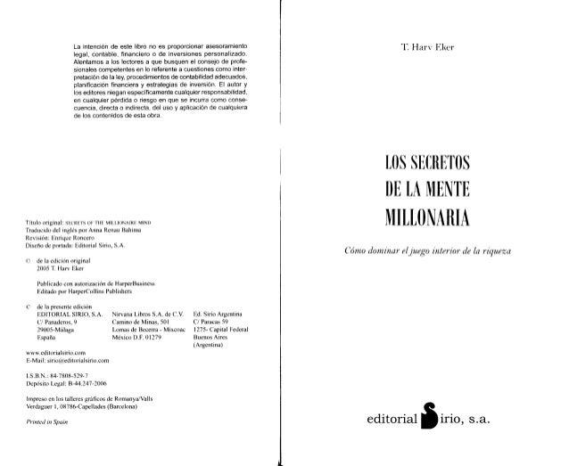 La intencion de este libro no es proporcionar asesoramiento                       T. Harv Eker                      legal,...