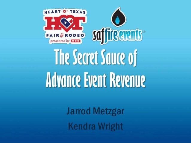 The Secret Sauce ofAdvance Event Revenue    Jarrod Metzgar    Kendra Wright