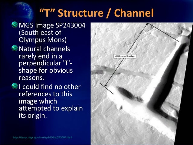 """""""T"""" Structure / Channel    MGS Image SP243004    (South east of    Olympus Mons)    Natural channels    rarely end in a   ..."""