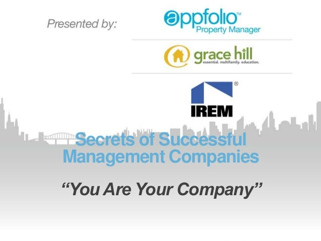 """Secrets of SuccessfulManagement Companies""""You Are Your Company"""""""
