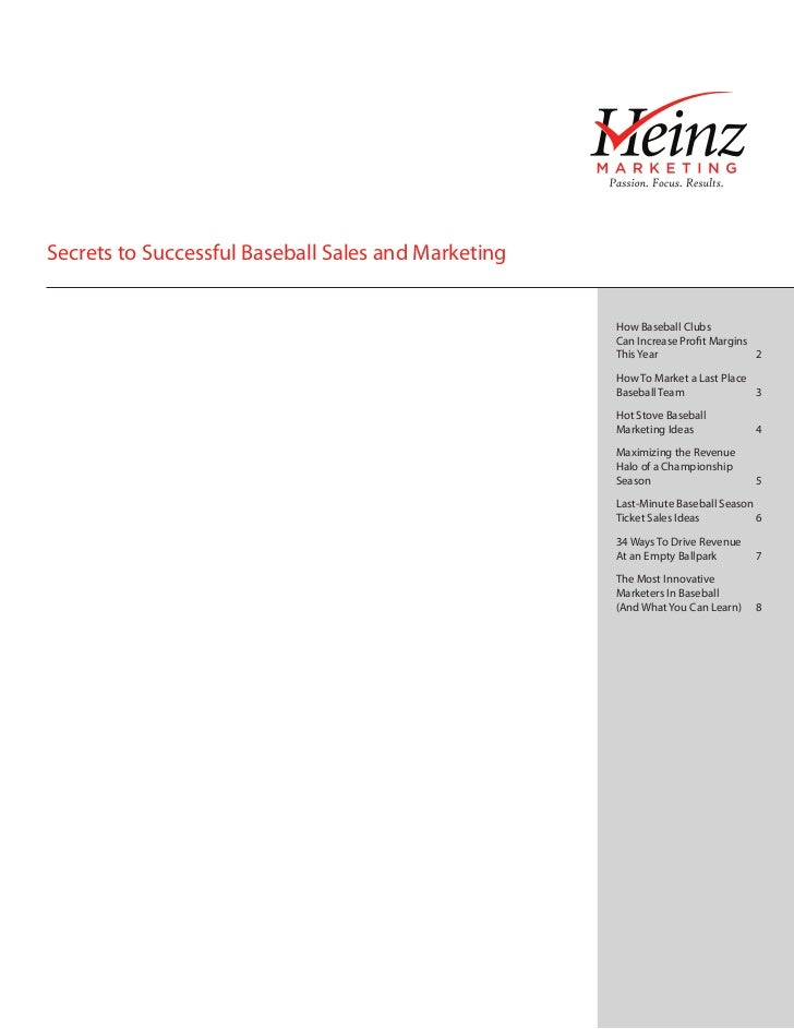 Secrets to Successful Baseball Sales and Marketing                                                     How Baseball Clubs ...