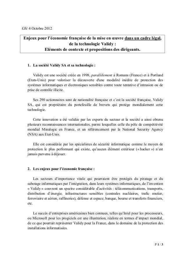 P 1 / 3 GS/ 4 Octobre 2012 Enjeux pour l'économie française de la mise en œuvre dans un cadre légal, de la technologie Val...