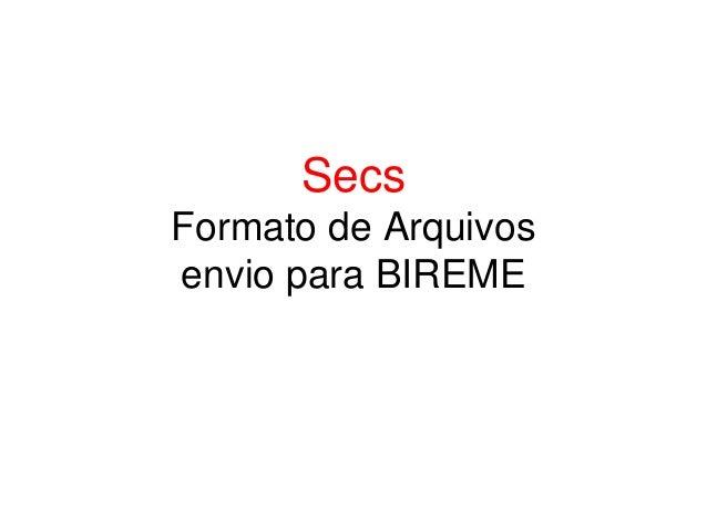 Secs Formato de Arquivos envio para BIREME