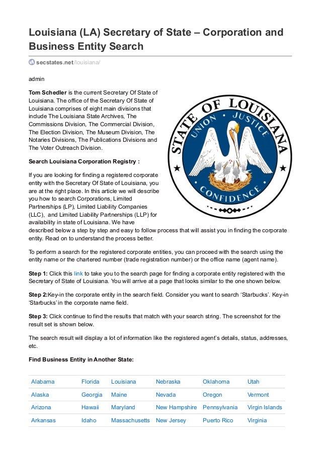 Business Services - Louisiana Secretary of State