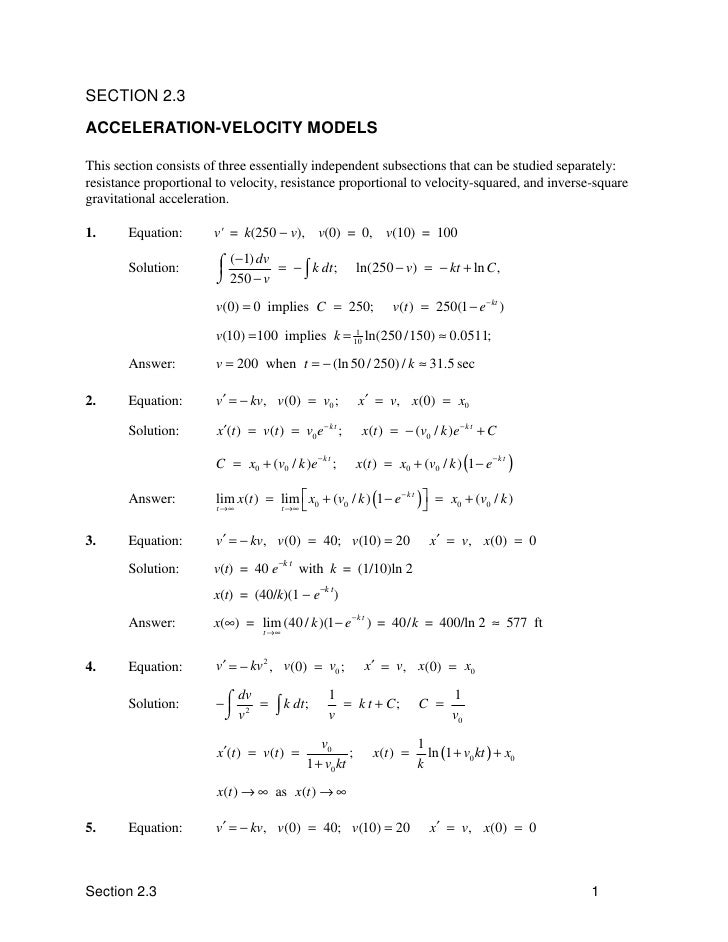 SECTION 2.3 ACCELERATION-VELOCITY MODELS  This section consists of three essentially independent subsections that can be s...