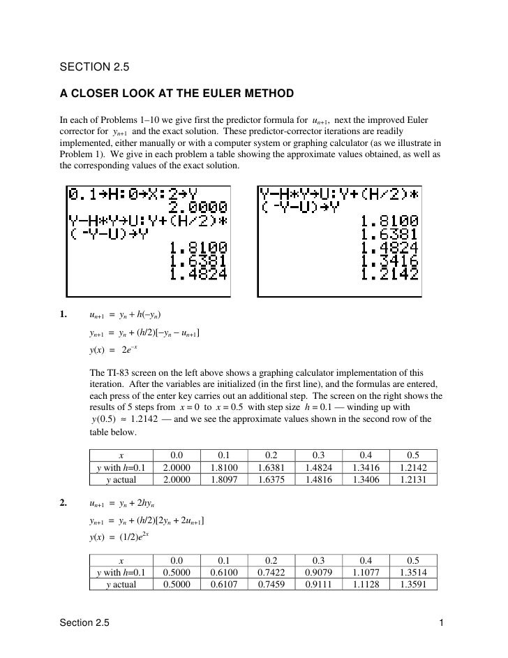 SECTION 2.5  A CLOSER LOOK AT THE EULER METHOD  In each of Problems 1–10 we give first the predictor formula for un+1, nex...