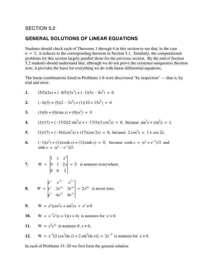 SECTION 5.2  GENERAL SOLUTIONS OF LINEAR EQUATIONS Students should check each of Theorems 1 through 4 in this section to s...