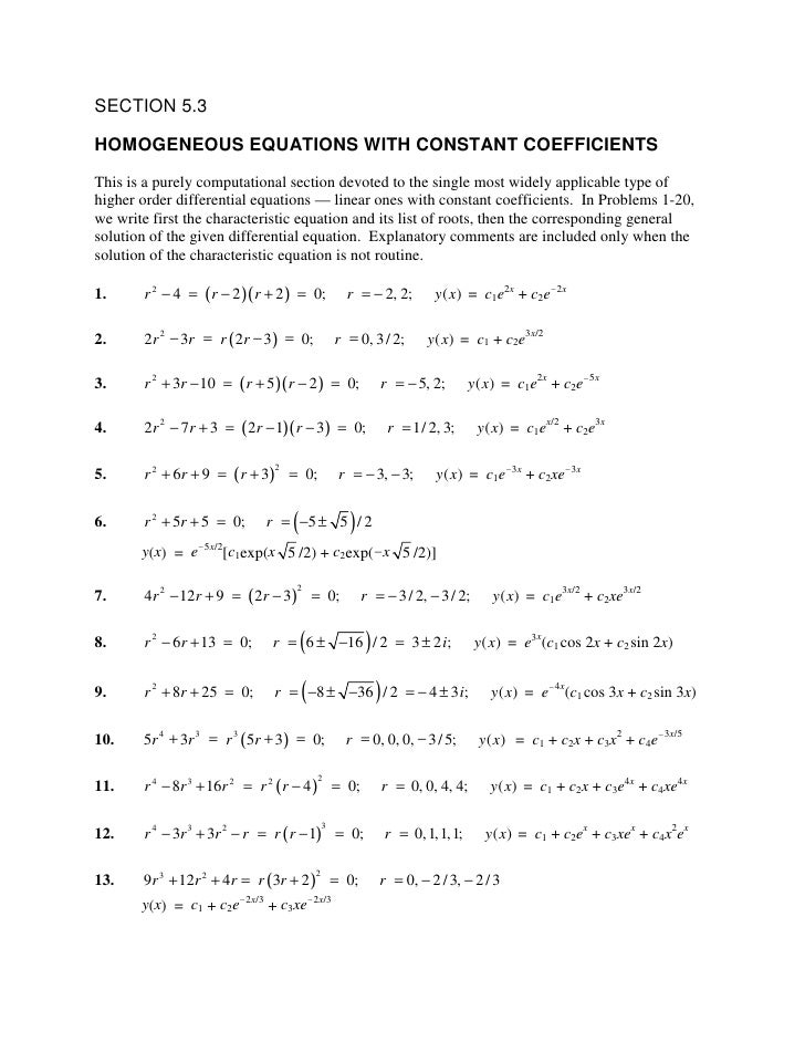SECTION 5.3  HOMOGENEOUS EQUATIONS WITH CONSTANT COEFFICIENTS This is a purely computational section devoted to the single...