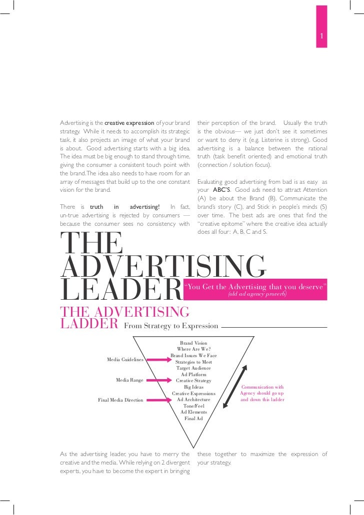 1Advertising is the creative expression of your brand    their perception of the brand. Usually the truthstrategy. While i...