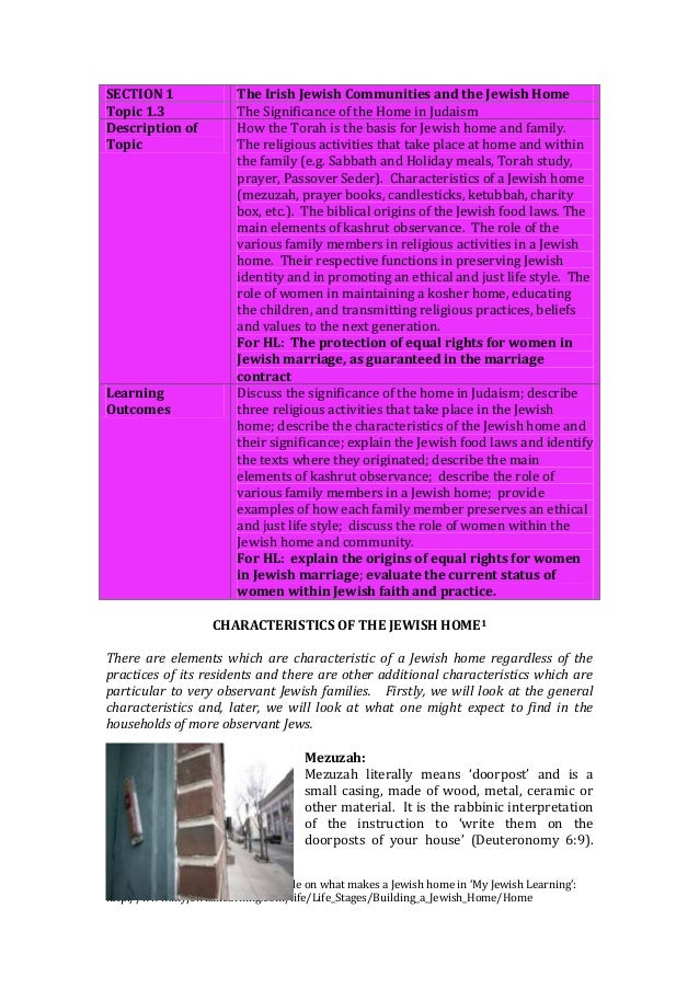 SECTION 1 The Irish Jewish Communities and the Jewish Home Topic 1.3 The Significance of the Home in Judaism Description o...