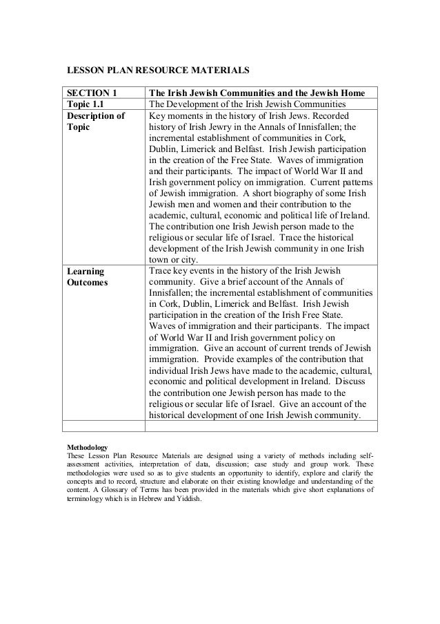 LESSON PLAN RESOURCE MATERIALS SECTION 1 The Irish Jewish Communities and the Jewish Home Topic 1.1 The Development of the...