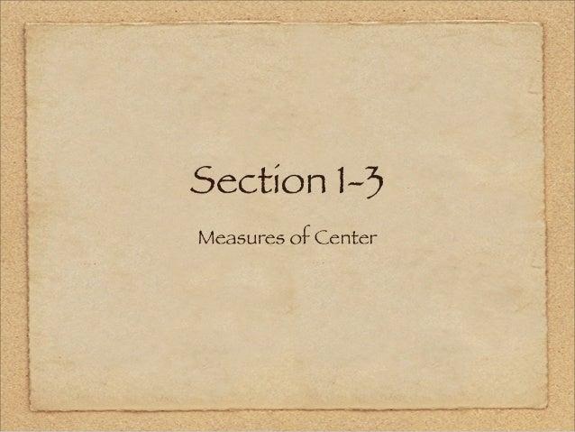 Section I-5 e  Measures 0? Center