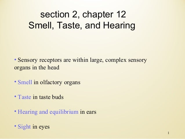 section 2, chapter 12 Smell, Taste, and Hearing  • Sensory receptors are within large, complex sensory organs in the head ...