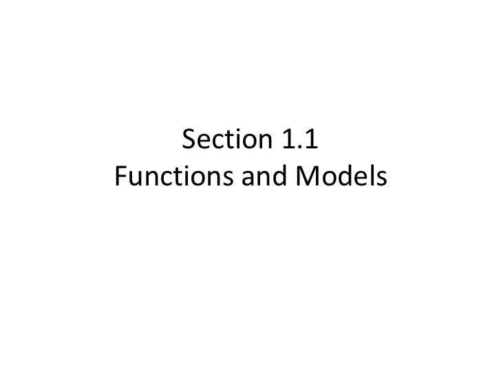 Section 1.1Functions and Models<br />