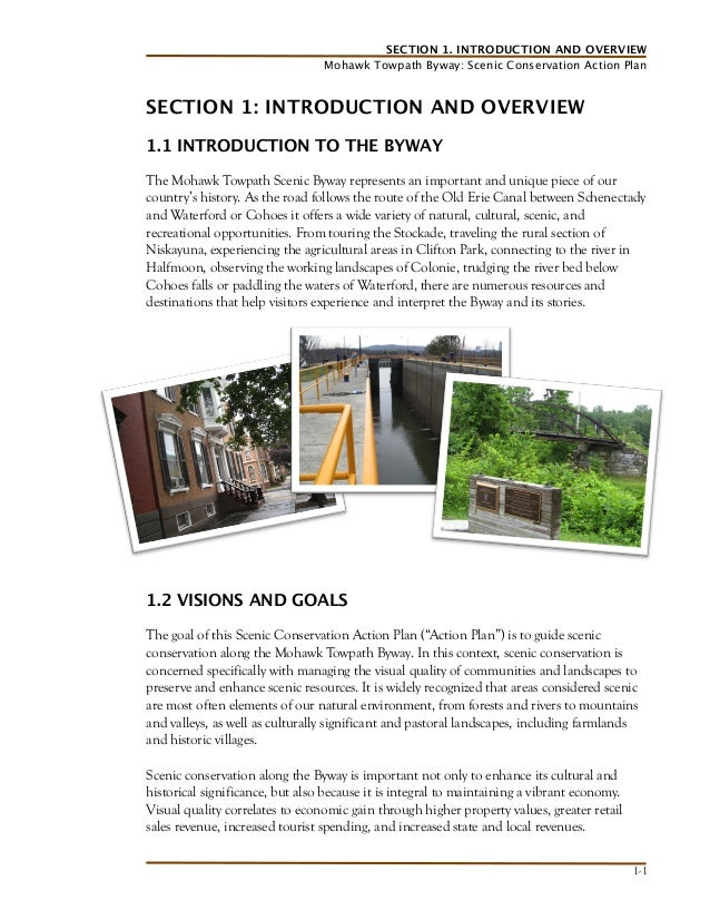 SECTION 1. INTRODUCTION AND OVERVIEW Mohawk Towpath Byway: Scenic Conservation Action Plan  SECTION 1: INTRODUCTION AND OV...