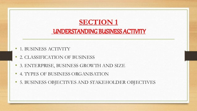 SECTION 1 UNDERSTANDING BUSINESS ACTIVITY • 1. BUSINESS ACTIVITY • 2. CLASSIFICATION OF BUSINESS • 3. ENTERPRISE, BUSINESS...