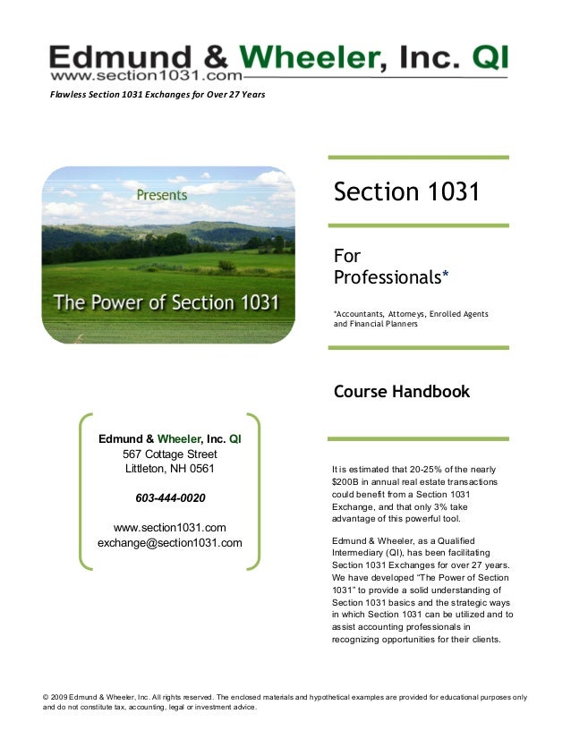 © 2009 Edmund & Wheeler, Inc. All rights reserved. The enclosed materials and hypothetical examples are provided for edu...