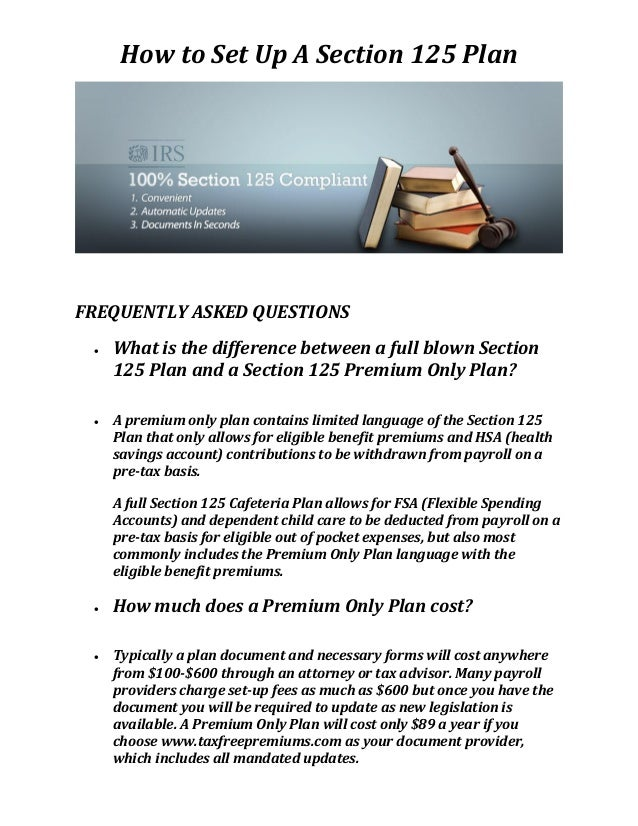 Tax free premiums section 125 plan document for Section 125 plan document template