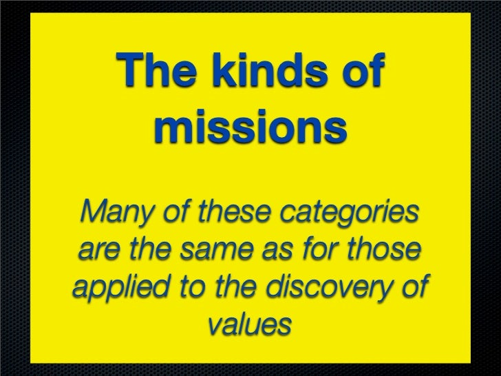 The kinds of    missionsMany of these categoriesare the same as for thoseapplied to the discovery of          values