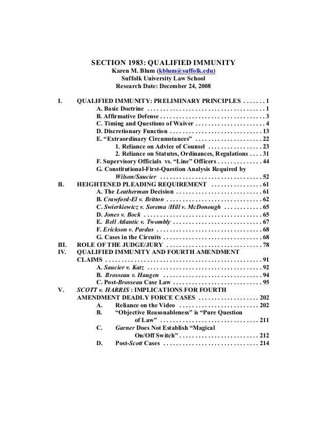 SECTION 1983: QUALIFIED IMMUNITY                          Karen M. Blum (kblum@suffolk.edu)                             Su...