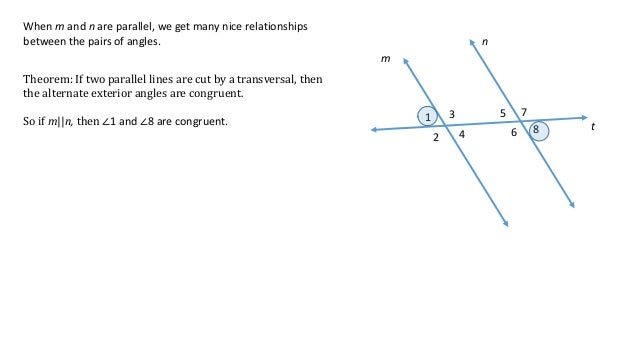 Parallel lines initial definitions and theorems Alternate exterior angles conjecture