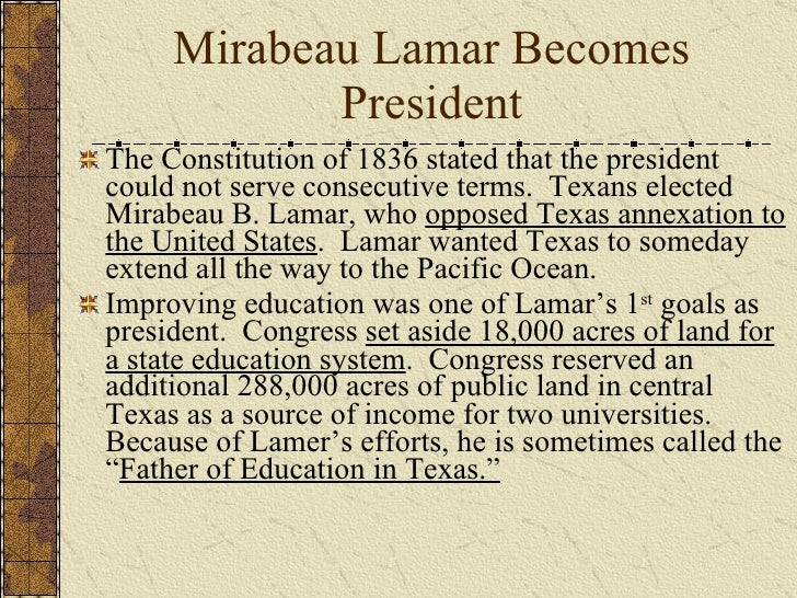 the presidency of mirabeau lamar an examination Add tags for inaugural address of mirabeau b lamar, president of the republic of texas, to both houses of congress  be the first.