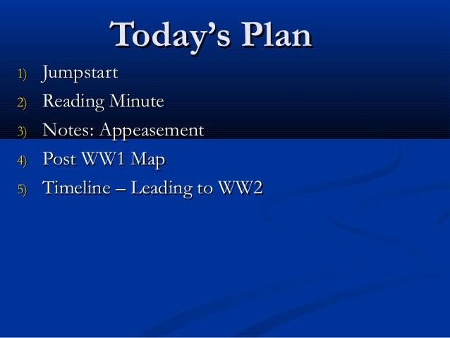 Today's PlanToday's Plan 1)1) JumpstartJumpstart 2)2) Reading MinuteReading Minute 3)3) Notes: AppeasementNotes: Appeaseme...