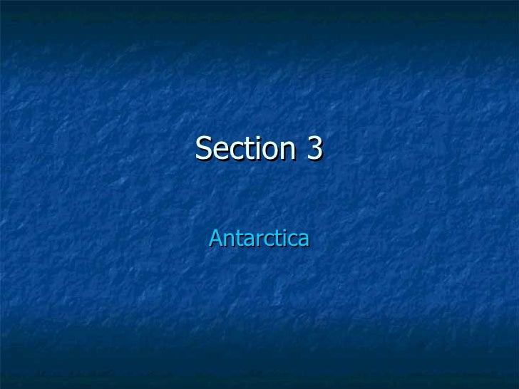 Section 3 Antarctica