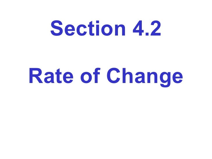 Section 4.2 Rate of Change