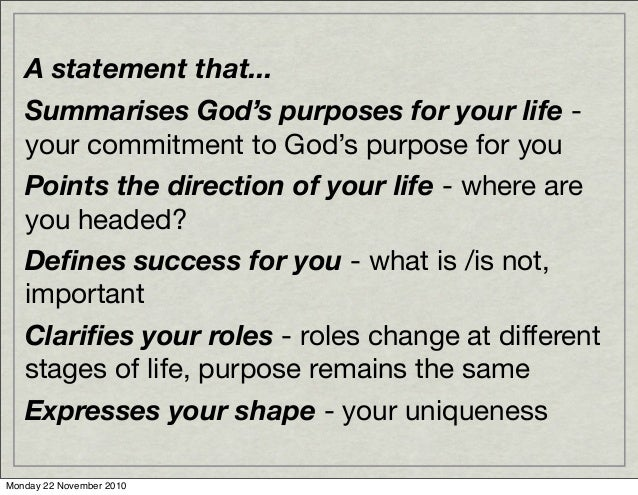 Life purpose statement