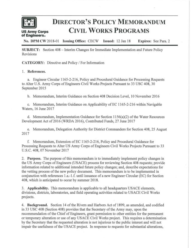 US Army Corps of Englneers0 DIRECTOR'S POLICY MEMORANDUM CIVIL WORKS PROGRAMS No. DPM CW 2018-01 Issuing Office: CECW Issu...