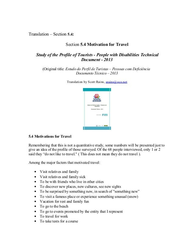 Translation – Section 5.4: Section 5.4 Motivation for Travel Study of the Profile of Tourists - People with Disabilities T...