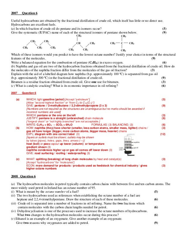 Section 5 exam questions and answers – Fractional Distillation Worksheet