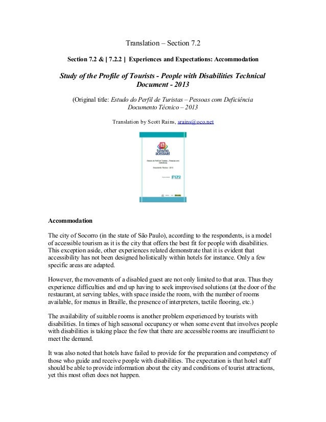Translation – Section 7.2 Section 7.2 & [ 7.2.2 ] Experiences and Expectations: Accommodation  Study of the Profile of Tou...