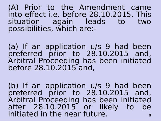 Section 9 Of The Arbitration And Conciliation Act 1996