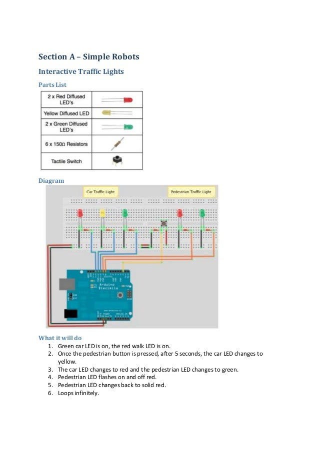 Section A – Simple Robots Interactive Traffic Lights Parts List  Diagram  What it will do 1. Green car LED is on, the red ...