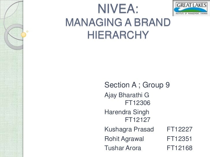 NIVEA:MANAGING A BRAND   HIERARCHY     Section A ; Group 9     Ajay Bharathi G            FT12306     Harendra Singh      ...