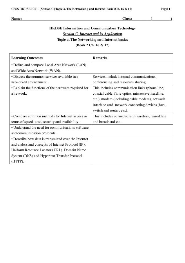 CFSS HKDSE ICT – [Section C] Topic a. The Networking and Internet Basic (Ch. 16 & 17)                  Page: 1Name:_______...
