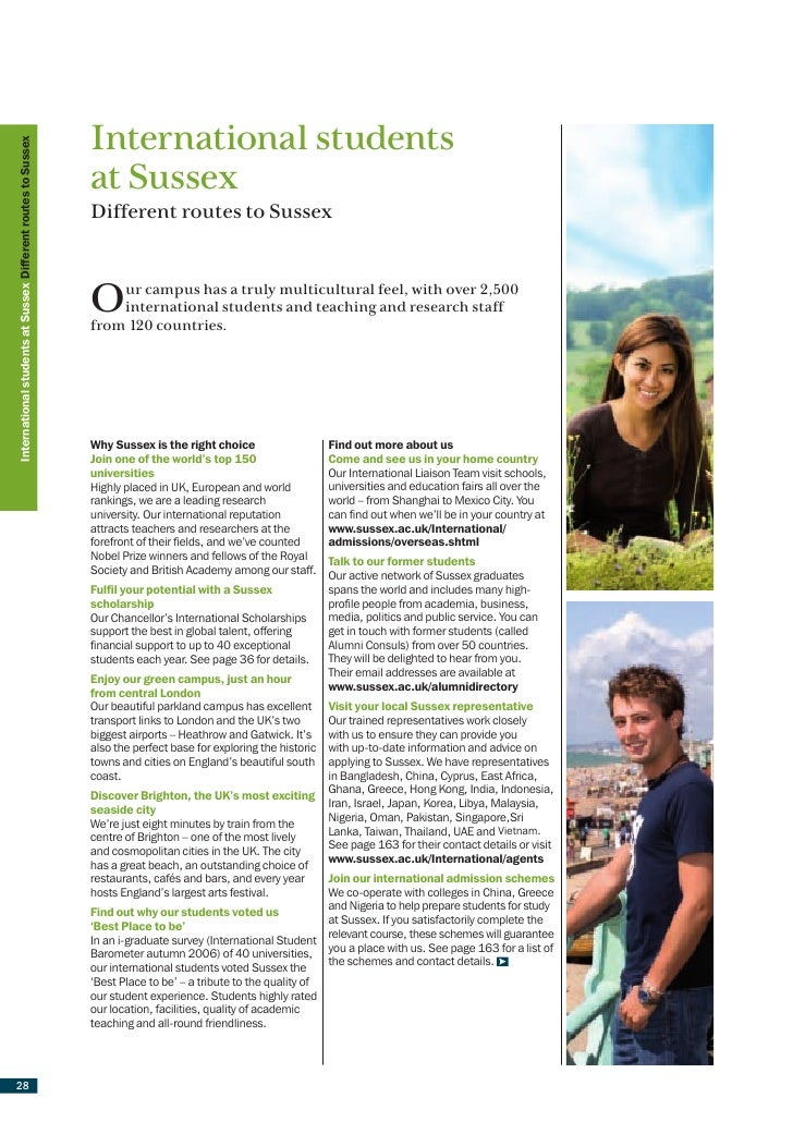 International students International students at Sussex Different routes to Sussex                                        ...