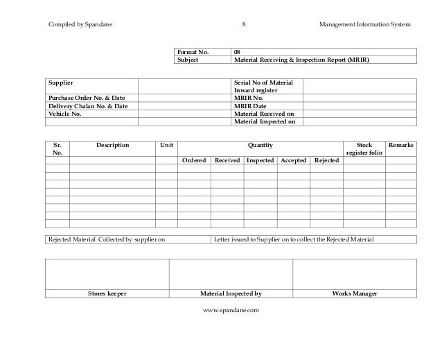 Section iii mis formats – Goods Received Note Format