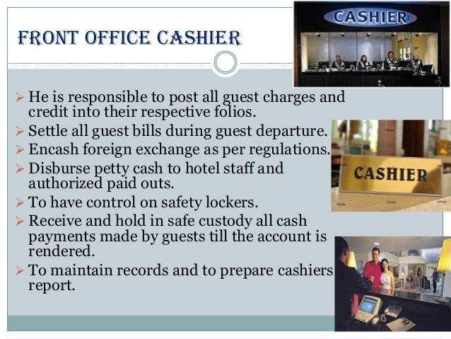 front office department The front office department is the major department in a hotel which is situated at the front part of the hotel and it's duty is to sale the rooms of the hotels after registration and hand.