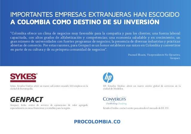 IMPORTANTES EMPRESAS EXTRANJERAS HAN ESCOGIDO A COLOMBIA COMO DESTINO DE SU INVERSIÓN ,ovitucejE-oNetnediserpeciV,nisahBdo...