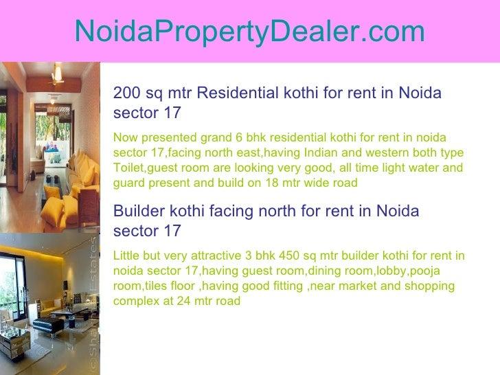 NoidaPropertyDealer.com 200 sq mtr Residential kothi for rent in Noida sector 17 Now presented grand 6 bhk residential kot...