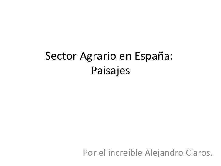 Sector Agrario en España:         Paisajes       Por el increíble Alejandro Claros.